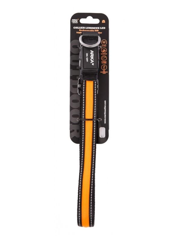 Collier Nylon Lumineux 45-63cm Orange Martin Sellier Alpin'Dog